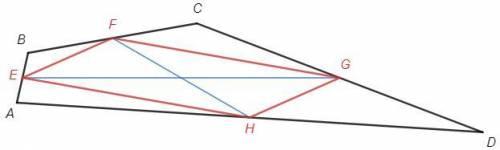 Унеправильного выпуклого четырёхугольника средние линии с длинами 10 и 20 пересекаются под углом 30