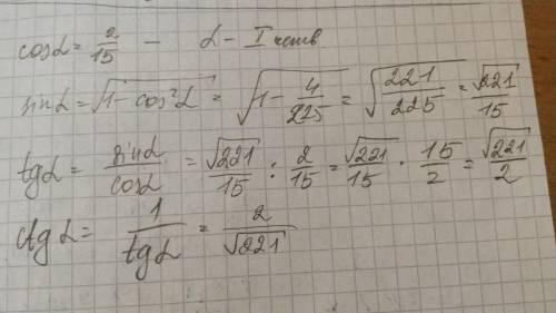 Для острого угла а найдите sin a , tg a , ctg a если cos a = 2/15(дробь)