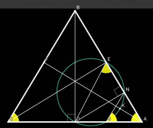 Дан остроугольный треугольник abc, где h - орто центр. из вершин b и c опущены высоты d и e соответс