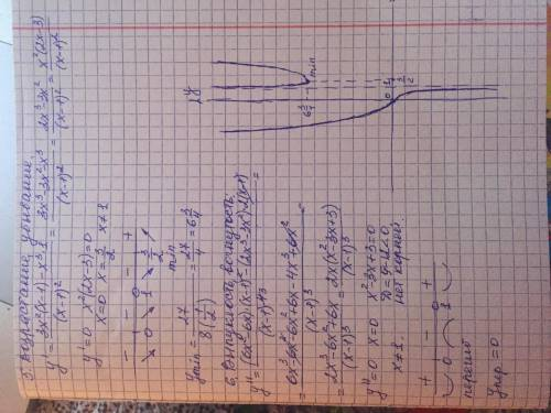 Исследовать функцию и построить её график y=x³/x-1 (найти область определения d(f), выяснить чётност
