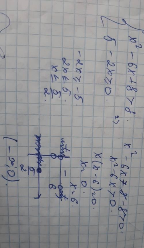 {x^2-6x+8>8 {5-2x≥0 теңсіздіктер жүйесін шешіңіз