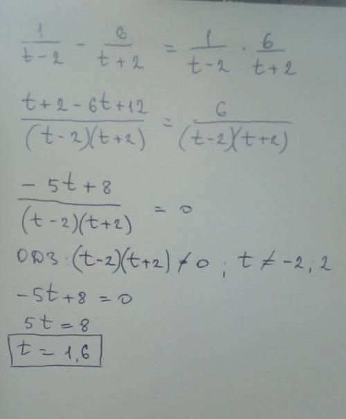 Найди значение переменной t, при котором разность дробей 1/t−2 и 6/t+2 равна их произведению.