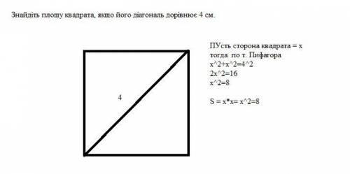 Знайдіть площу квадрата, якщо його діагональ дорівнює 4 см.