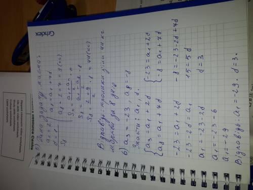 1. Знайдіть різницю арифметичної прогресії: 7; 9; 11; 13 ... 2. Знайдіть суму перших трьох членів ар
