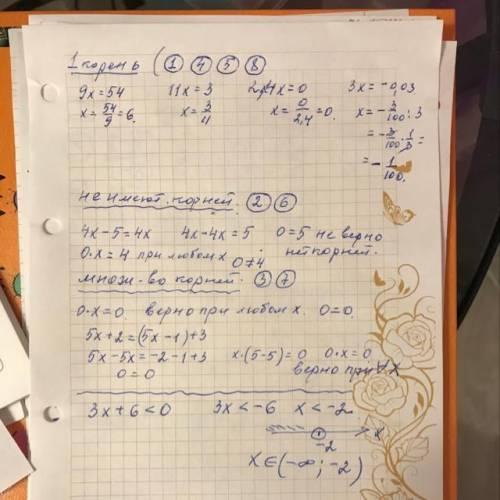 4. Даны уравнения 1) 9х = 54 2) 4х – 5= 4х 3) 0x = 0 4) 11x = 3 5) – 2,4x = 0 6) 0х = 4 7) 5х + 2 =