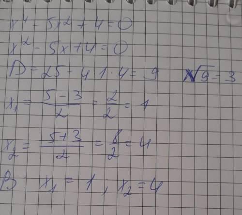 Розв'яжіть рівняння х^4 -5x^2 +4=0