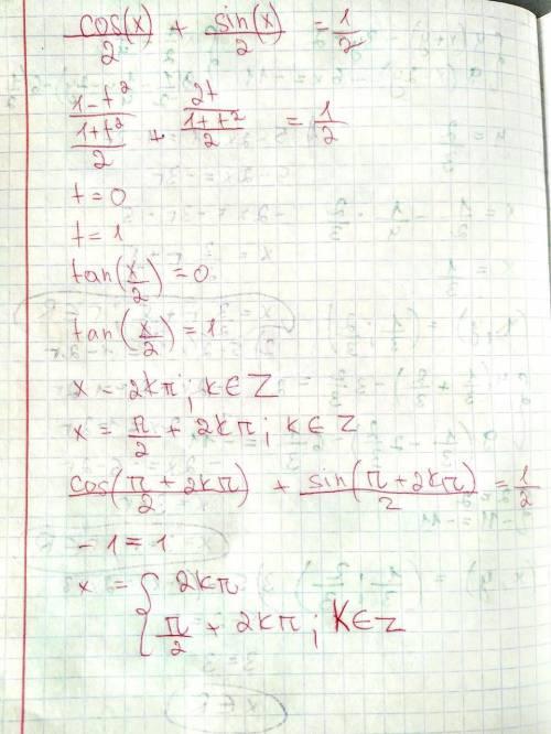 Решите очень нужноcos x/2 + sin x/2=1/2 