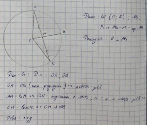 В окружности с центром О, радиус делит хорду пополам. Доказать, что радиус перпендикулярен хорде.