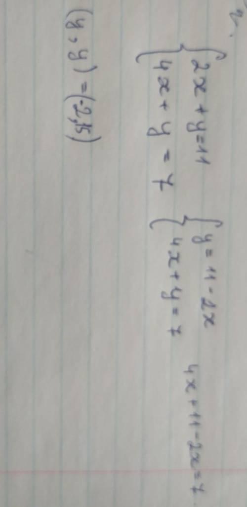 Вирішити усіма Графічним,підстановки,додавання система {2х+у=11 {4х+у=7