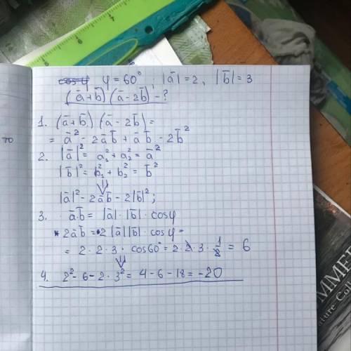 очень Векторы a и b создают угол 60°.Найдите значение (a+b)(a-2b),если |a|=2,|b|=3.