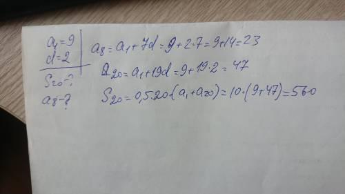 Знайдіть восьмий член та суму перших двадцяти членів арифметичної прогресії,якщо а1=9,d=2.