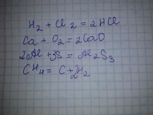 Підберіть коефіцієнти в поданих схемах реакцій:а) H2 + Cl2 ® HClб) Ca + O2 ® CaOв) Al + S ® Al2 S3г)