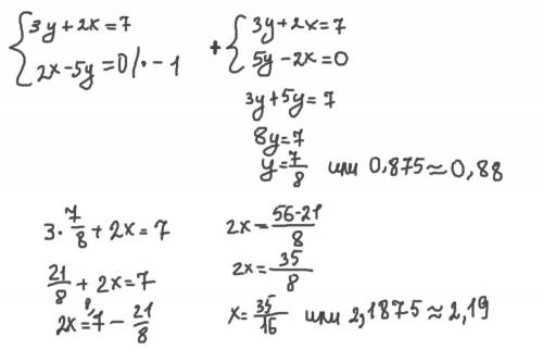 Реши систему уравнений: {3y+2x=7 {2x−5y=0 ответ: (При необходимости ответ округлите до сотых!) x= y=