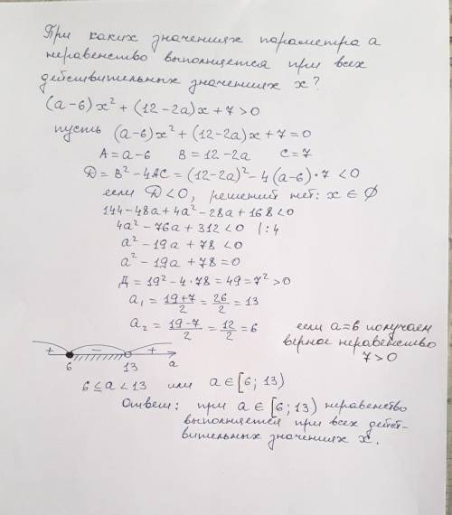 При каких значениях параметра a неравенство выполняется при всех действительных значениях x?(a-6)x^2