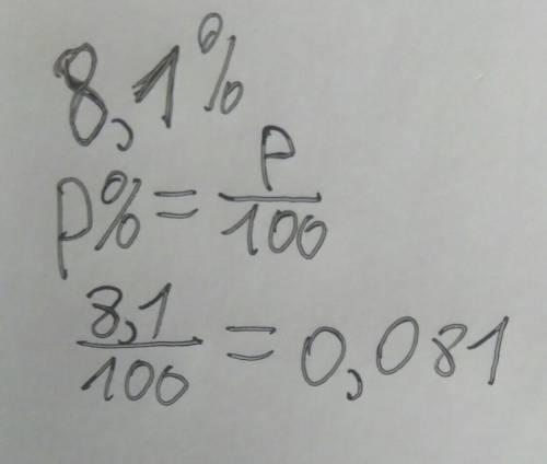 8,1% в виде десятичной дроби