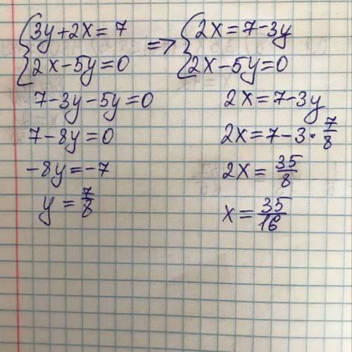 Реши систему уравнений: {3y+2x=7 2x−5y=0 ответ: (При необходимости ответ округлите до сотых!) x= ;y