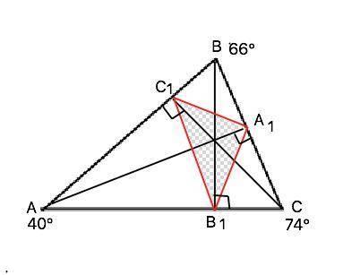 В треугольнике ABC проведены высоты AA1, BB1, CC1. Чему равны углы треугольника A1B1C1, если ∠A=40∘,