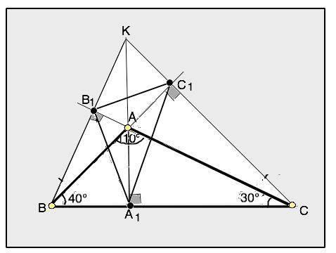 В треугольнике ABC проведены высоты AA1, BB1, CC1. Чему равны углы треугольника A1B1C1, если ∠A=110∘