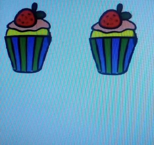 Нарисуй такой, только два таких кекса в программе Paint 