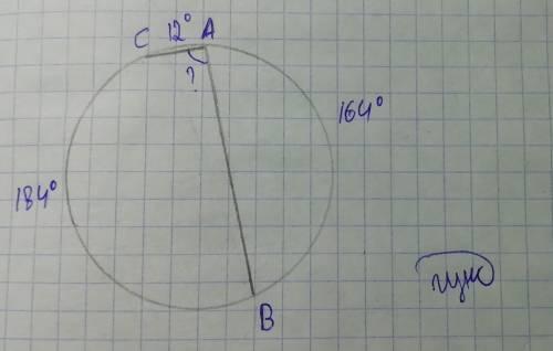 Хорда ab стягивает дугу, равную 164*, а хорда ac - дугу в 12*. найдите угол bac.