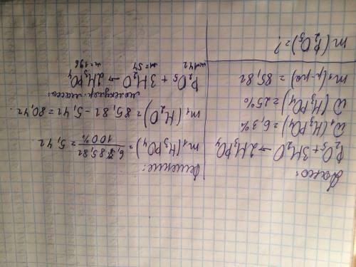 Какую массу p2o5 нужно добавить к 85.8г раствора сw(h3po4) =6.3%,чтобы после нагревания получить рас