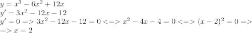 y=x^3-6x^2+12x\\y'=3x^2-12x-12\\y'=0=3x^2-12x-12=0<=x^2-4x-4=0<=(x-2)^2=0=\\=x=2