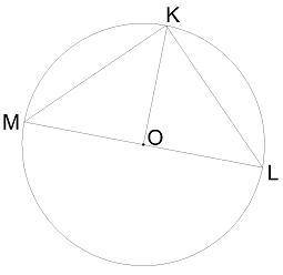 Треугольник KLM вписан в окружность, KO = 17,8 дм. Вычисли: ∢ LKM= °; ∪ML= °; ML= дм.