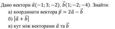 Дано вектори a (−1; 3; −2), b 1; −2; −4 . Знайти: а) координати вектора p = 2a − b б) a + b в) кут м