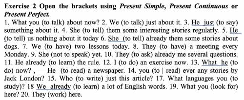 Exercise 2 Open the brackets using Present Simple, Present Continuous or Present Perfect.