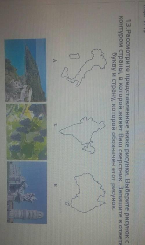 13.Рассмотрите представленные ниже рисунки. Выберите рисунок сконтуром страны, в которой живёт Ваш с