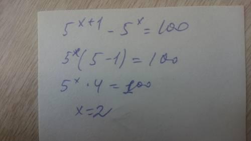 Решить показательное уравнение. 5^x+1-5^x=100