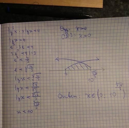 Решить уравнение Lg^2 x * 3 Lg x < 4