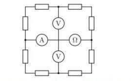 В цепи, схема которой представлена на рисунке, омметр показывает 1000 Ом, вольтметры по 2 В. Что пок