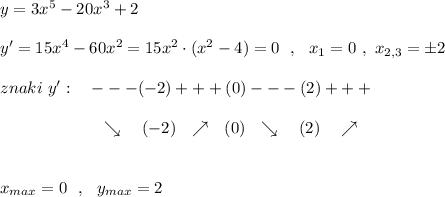 y=3x^5-20x^3+2\\\\y'=15x^4-60x^2=15x^2\cdot (x^2-4)=0\ \ ,\ \ x_1=0\ ,\ x_{2,3}=\pm 2\\\\znaki\ y':\ \ \ ---(-2)+++(0)---(2)+++\\\\{}\qquad \qquad \qquad \searrow \ \ \ (-2)\ \ \nearrow \ \ (0)\ \ \searrow \ \ \ (2)\ \ \ \nearrow \\\\\\x_{max}=0\ \ ,\ \ y_{max}=2