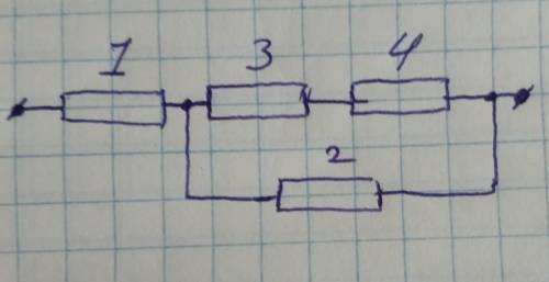 Дано:R1=2.5 Oм. R2=R3=10. R4=20Oм.И =40 Oм.Найти: И1, И2, И3, И4.I, I1, I2, I3, I4.( R- сопротивлени
