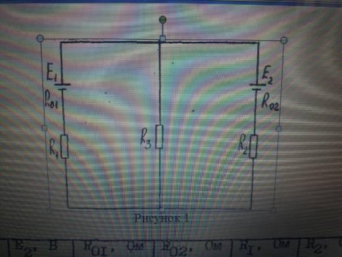 E1-60В Е2-30В R01-1Ом R02-Ом R1-20Ом R2-14Om R3-14Om Определите ток указанной в задании (таблица 1)