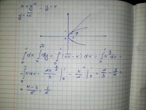 Вычислить площадь плоской фигуры ограниченной линиями: x=y^2, y=x