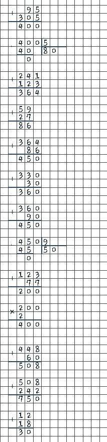 7 Вычисли рационально. (95 + 305): 5 241 + 123 +59 + 27 (330 + 30 + 90): 3 (123 +77). 2 448 + 60 + 2